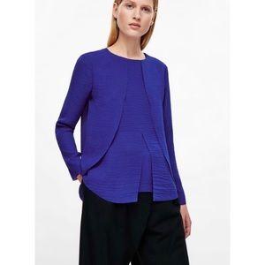 COS H&M Women's Blouse Size 12 Blue Petal Drape
